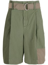 3.1 Phillip Lim Oversized Patchwork Shorts Green