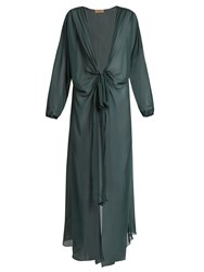 Adriana Degreas Long Sleeved Silk Cover Up Green
