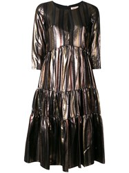Black Coral Stripe Dress Metallic
