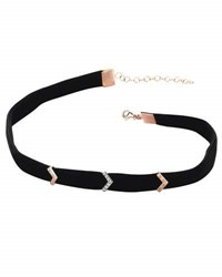 Kismet By Milka Black Velvet Choker With Diamond Chevron Stations