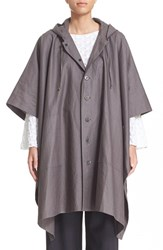 Women's Eskandar Coated Linen Rain Poncho With Hood