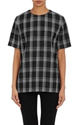 Proenza Schouler Women's Plaid Wool Blend Crop Top Black White Black White