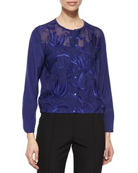 Escada Climbing Floral Embroidered Blouse Ink