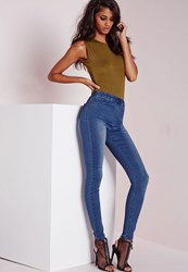 Missguided High Waisted Jeggings Mid Blue Blue