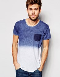 Esprit Dip Dye T Shirt With Raw Edge Navy