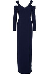 Mikael Aghal Cold Shoulder Crepe Gown Navy
