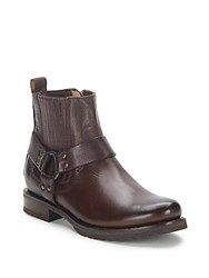 Frye Veronica Harness Leather Ankle Boot Dark Brown