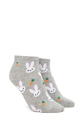 Forever 21 Bunny Graphic Ankle Socks Grey Multi