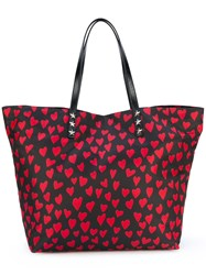 Red Valentino Heart Print Shopping Bag Women Polyester One Size Black