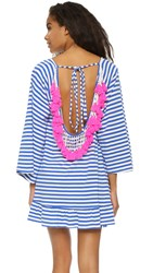 Sundress Indiana Stripe Short Beach Dress Light Blue Neon Pink