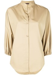 Harvey Faircloth Mandarin Collar Shirt Neutrals