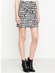 Love Moschino All Over Logo Mini Skirt Black
