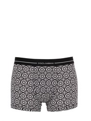 Dolce And Gabbana Maiolica Cotton Jersey Boxer Briefs