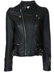 Le Ciel Bleu Wash Leather Riders Jacket Black
