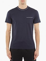 Sunspel Navy Stripe Trim T Shirt