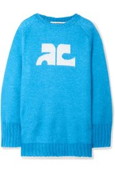 Courreges Intarsia Knitted Sweater Azure