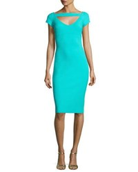 La Petite Robe Di Chiara Boni Ecuba Cap Sleeve Jersey Sheath Dress Aqua