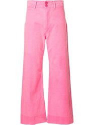 Apiece Apart Flared Cropped Trousers Pink Purple