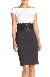 Women's Tadashi Shoji Sequin Embroidered Mesh Colorblock Sheath Dress