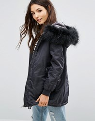 Pull And Bear Pullandbear Faux Fur Hooded Parka Gunmetal Silver
