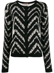 Twin Set Chevron Intarsia Cardigan Black