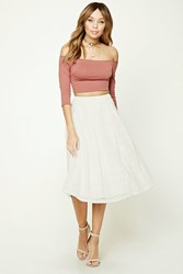 Forever 21 Pleated Crochet Midi Skirt Ivory