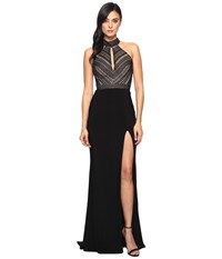 Faviana Lace Halter W Keyhole Jersey Skirt S7932 Black Women's Dress