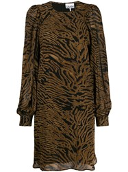 Ganni Tiger Print Dress Brown
