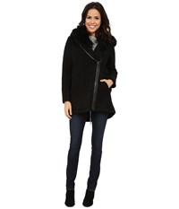 Vince Camuto Fur Hood Sweater Coat J8241 Black Women's Sweater