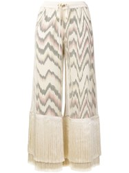 Missoni Fringe Cropped Trousers Neutrals