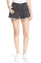 Re Done Women's 'The Black High Rise' Reconstructed Denim Shorts