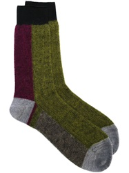 Haider Ackermann Colour Block Socks Green