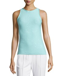 Escada Jewel Neck Embellished Tank Mint