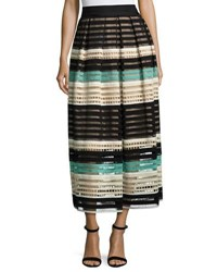 Lela Rose Striped Crochet A Line Midi Skirt Mint Multi Multi Pattern