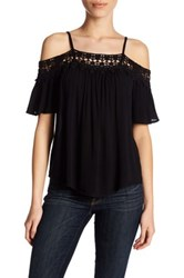 Jolt Crochet Trim Cold Shoulder Shirt Black