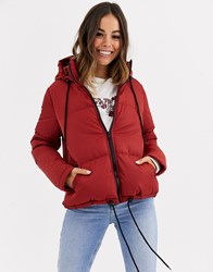 Brave Soul Cello Hooded Puffer Jacket Brown