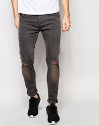Brave Soul Charcoal Skinny Knee Ripped Jeans Grey