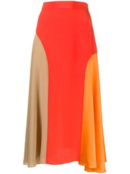 Chinti And Parker Panelled Silk Skirt Red