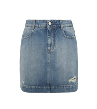 Stella Mccartney Distressed Denim Miniskirt Blue