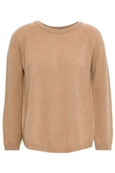 Piazza Sempione Woman Pointelle Trimmed Wool And Cashmere Blend Sweater Camel