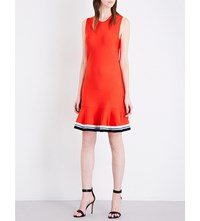 Victoria Beckham Bright Flounce Knitted Dress Flame Red