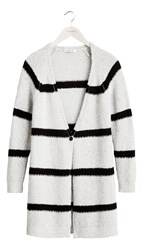 Sandwich Long Stripe Cardigan Grey