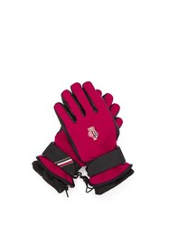 Moncler Grenoble Logo Patch Twill And Leather Technical Ski Gloves Red