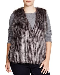 Bb Dakota Plus Libby Faux Fur Vest Grey Multi