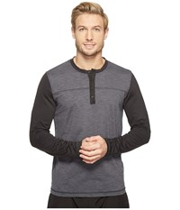 Prana Zylo Henley Charcoal Color Block Men's Long Sleeve Pullover Gray