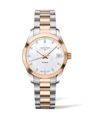 Longines Conquest Classic Diamond Mother Of Pearl Goldtone And Stainless Steel Watch No Color