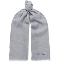 Paul Smith Logo Embroidered Slub Linen Scarf Gray