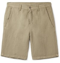Massimo Alba Slim Fit Linen And Cotton Blend Shorts Green
