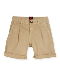 Gucci Pleated Cotton Bermuda Shorts Oatmeal Size 4 12 Size 8