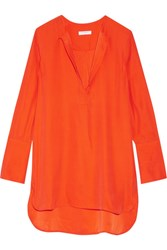 Equipment Niko Washed Silk Tunic Bright Orange